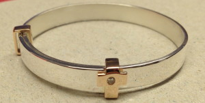 rose gold and silver bangle
